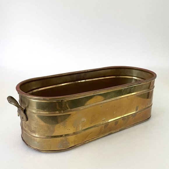 """13"""" Oblong Brass Planter Bucket with Handles"""